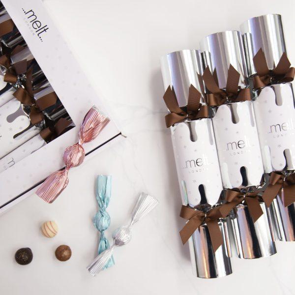 Melt Chocolates Luxury silver Christmas crackers
