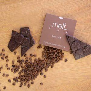 Popular Chocolate Pairings; Melt's coffee dark bar in a flat lay.